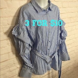 Blue & white striped button up ruffle sleeve top